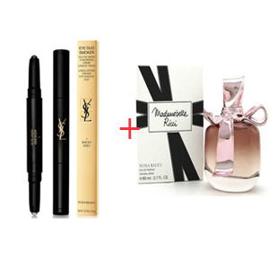 Combination Box 42 - Nina Ricci Mademoiselle Ricci Edp 80ml - Yves Saint Laurent Eye Duo Smoker - Long Lasting Creamy Eye Shadow Duo No. 01 Smoky Grey 2x0.8gr