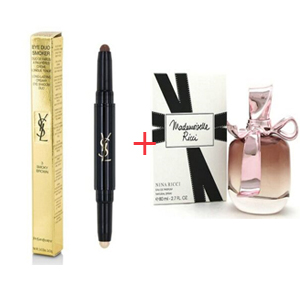 Combination Box 44 - Nina Ricci Mademoiselle Ricci Edp 80ml - Yves Saint Laurent Eye Duo Smoker - Long Lasting Creamy Eye Shadow Duo No. 03 Smoky Brown 2x0.8gr